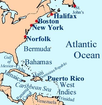 Map Caribbean to St. John's
