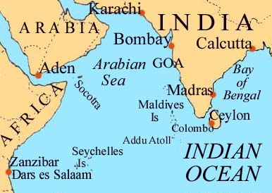 Map of Indian Ocean Northwest