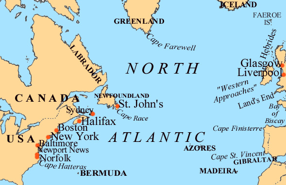 Map of North Atlantic